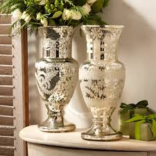 20 Glass Vase Twos Company 50538 20 Pentimento Mercury Glass Vase Two 50538 20