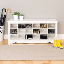 White Entryway Bench With Shoe Storage Bench Decoration