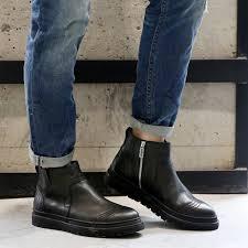 zipper boots s 2017 autumn winter s shoes genuine leather chelsea
