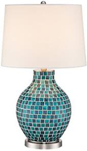 Blue Glass Table Lamp Elegant Designs Lt3214 Blu Glass Table Lamp With Fabric Shade