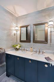 S And W Cabinets Blue Bath Vanity Cabinets With Sand Raffia Wallpaper Cottage