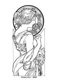 alphonse mucha line art u003cb u003ealfons mucha u0027s art nouveau u003c b u003e works