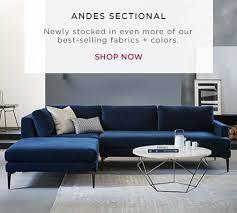 Modern Sofa Ideas Modern Sectional Sofas West Elm Regarding Blue Velvet Sectional