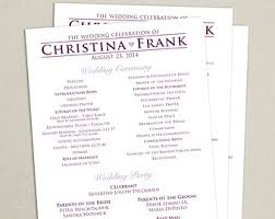 flat wedding programs modern wedding program single sided flat program