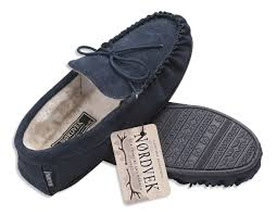 nordvek mens genuine suede sheepskin wool moccasin slippers
