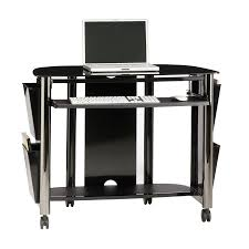 White Glass Computer Desk by Shop Sauder Chroma Black Chrome Black Glass Computer Desk At Lowes Com
