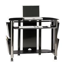 Black And Chrome Computer Desk Shop Sauder Chroma Black Chrome Black Glass Computer Desk At Lowes