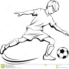 drawing of a boy is playing football boy playing soccer clipart