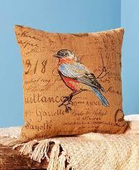 Burlap Decorative Pillows Bird Themed Accent Pillows Jute Finch Robin Tanager Set Home Decor