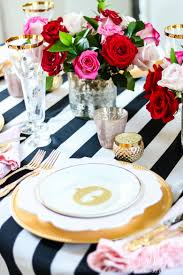 Pink And Gold Table Setting by Chic Galentine U0027s Day Table For Valentine U0027s Day Randi Garrett Design