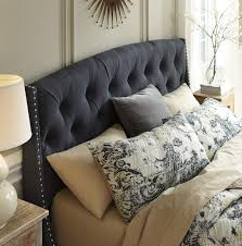 king california king upholstered headboard in dark gray with