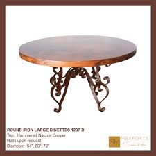 070 dining round table iron base chocolate finish copper natural