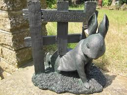 fantastic beatrix potter rabbit welcome gate detailed garden