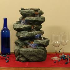 Home Decor Water Fountains by Sunnydaze Six Tier Stone Falls Tabletop Water Fountain