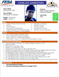 Soccer Player Resume Example by Fesa Player Profile For College Coaches Carlos Sandoval Premier