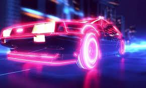 retro wave synthwave 1980s neon delorean car retro games