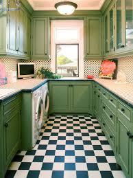 Washing Machine In Kitchen Design Captivating Kitchen Design In Green With White Black Pattern Floor