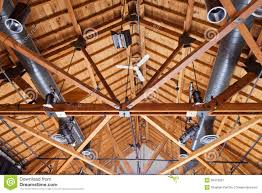 timber house ceiling duct lighting installation stock photo