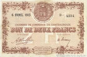 chambre de commerce chateauroux 2 francs regionalism and miscellaneous chateauroux 1915 jp