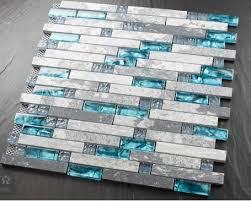 Blue Shell Tile Glass Mosaic Kitchen Backsplash Tiles SGMT Grey - Blue backsplash tile