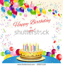happy birthday card cake balloons place stock illustration
