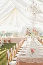 Sheer Draping Wedding Long Tables In U Shape Under Sheer Draping Lace Topper On Peach