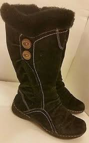 womens fur boots size 9 s black size 9 m knee high boots square toe 3 heels side