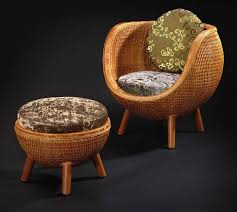 chinese rattan leisure chair and ottoman 3d model
