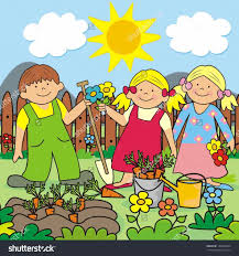 child collection child kids planting a garden clipart garden