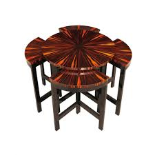 coffee table art deco side table wood veneer glossy varnished