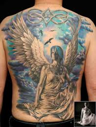 full back coverup with angel wings tattoo tattooshunter com
