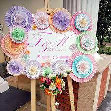 paper fans for wedding 5pcs lot 30cm 12inch single layer paper fans wedding backdrop