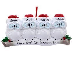 wise owl family of 4 personalized ornament