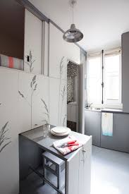 parisian kitchen design incredibly small apartment in paris reduces functions to minimum