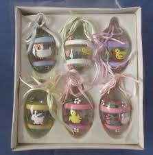 egg ornaments painted glass easter egg ornaments original box of 6