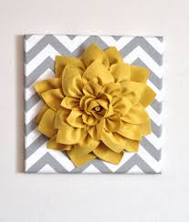 Etsy Laundry Room Decor by Wall Flower Mellow Yellow Dahlia On Gray And White Chevron 12 X12