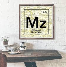 Mizzou Map Mizzou Tigers University Of Missouri Columbia Periodic Map Art