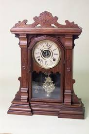 Antique Curio Cabinet With Clock Ingraham Walnut Cabinet Antique Mantel Clock At 1 800 4clocks Com