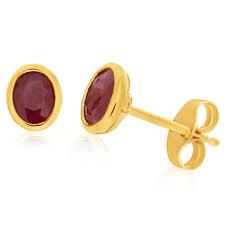 ruby stud earrings ruby stud earrings 9ct yellow gold g11252318 grahams