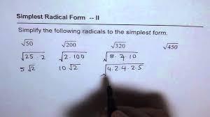 simplify radicals worksheet 2 youtube