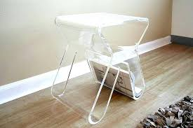 clear acrylic coffee table furnitures small clear acrylic side table feat book storage on