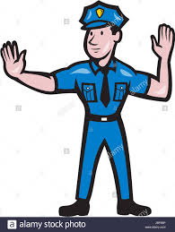 illustration of a traffic policeman police officer making a stop