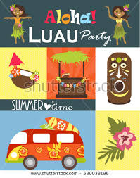 luau party luau party invitation card stock vector 580038196