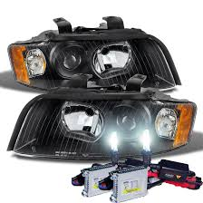 audi a4 headlight bulb hid xenon 02 05 audi a4 halogen model projector headlights black
