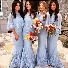 light blue bridesmaid dresses with wraps lace appliques mermaid