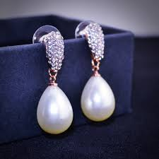 drop pearl earrings e043 water drop pearl earrings women gold and silver color drop