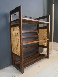 vintage retro mid century bookshelves stacking bookcase cane