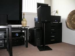 Studio Monitor Desk Stands by Badz U0027s Home Theater Gallery My Apartment Theater 24 Photos