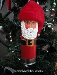 i made a snowman and santa ornament out of shotgun shells