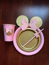 minnie mouse table set 10 light pink gold glitter minnie mouse birthday table set plates
